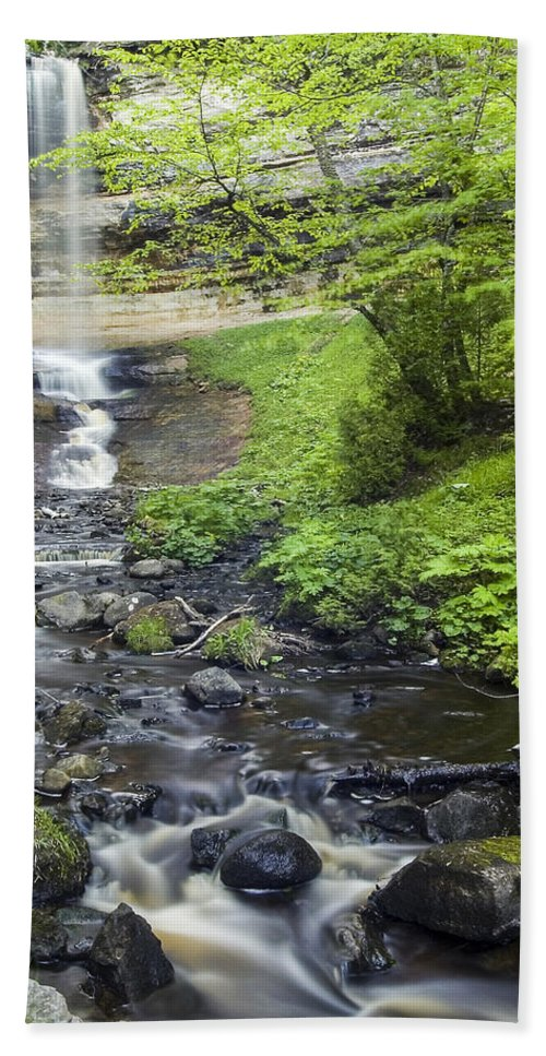 3scape Beach Towel featuring the photograph Munising Falls by Adam Romanowicz