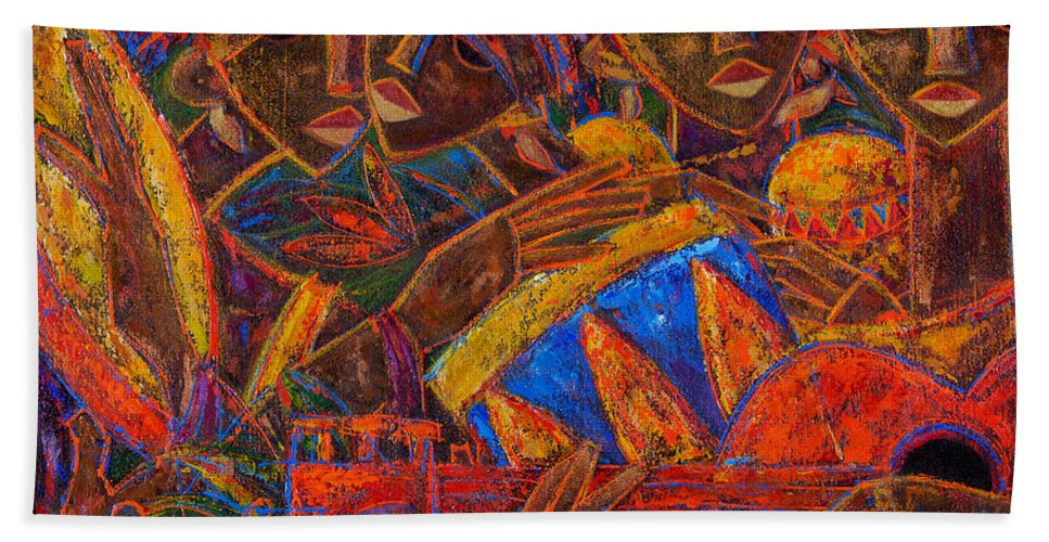 Puerto Rico Beach Towel featuring the painting Musas Del Caribe by Oscar Ortiz