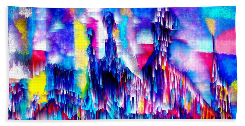 City Lights Beach Towel featuring the mixed media Music of the City by Seth Weaver