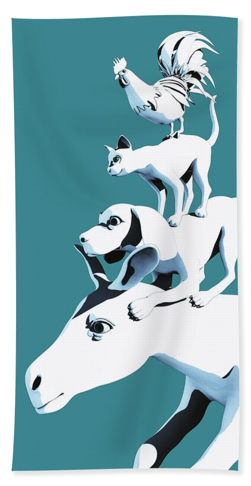 Donkey Beach Towel featuring the digital art Musicians of Bremen_teal by Heike Remy