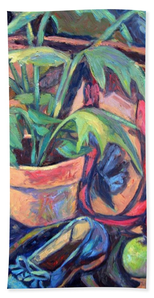 Plant Beach Towel featuring the painting My Old Shoe by Kendall Kessler