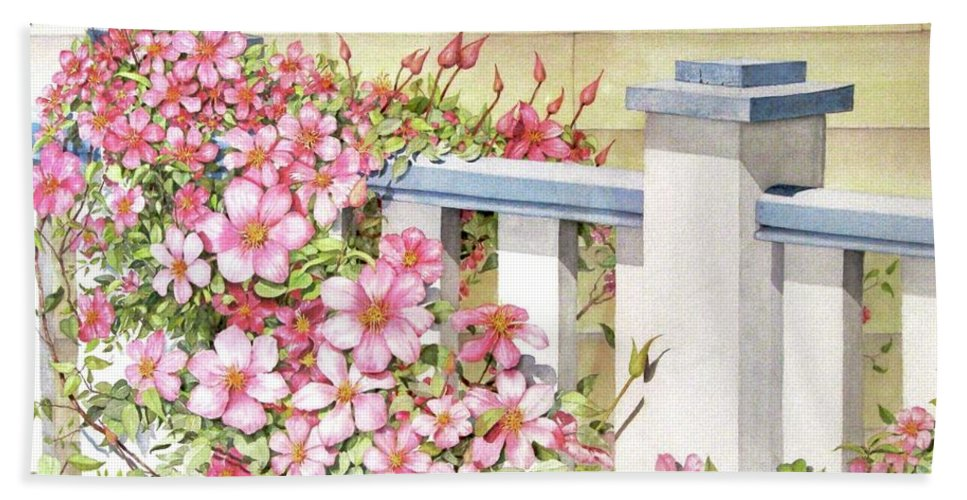 Florals Beach Towel featuring the painting My Porch Railing by Mary Ellen Mueller Legault