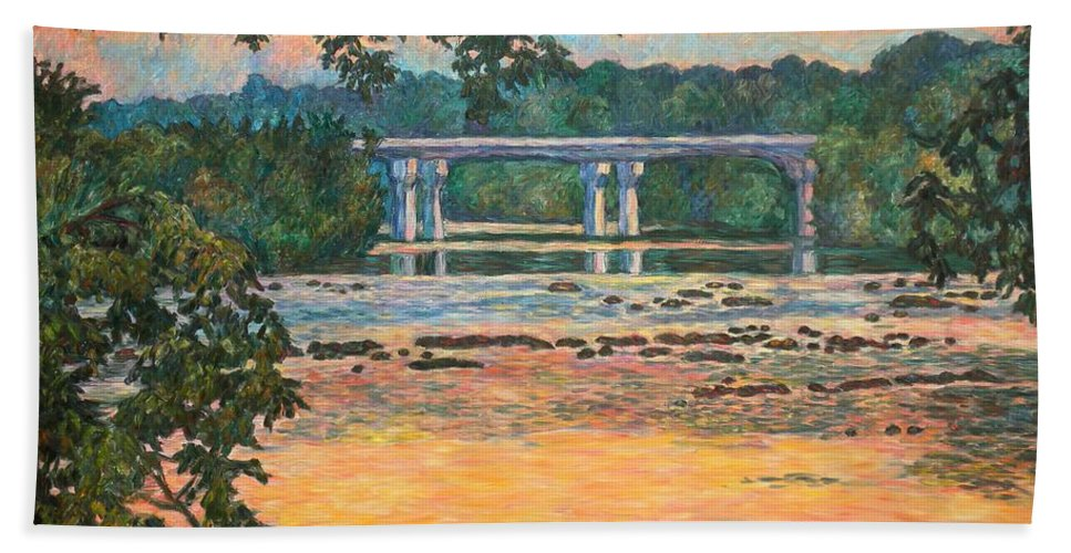 Landscape Beach Towel featuring the painting New Memorial Bridge at Dusk by Kendall Kessler