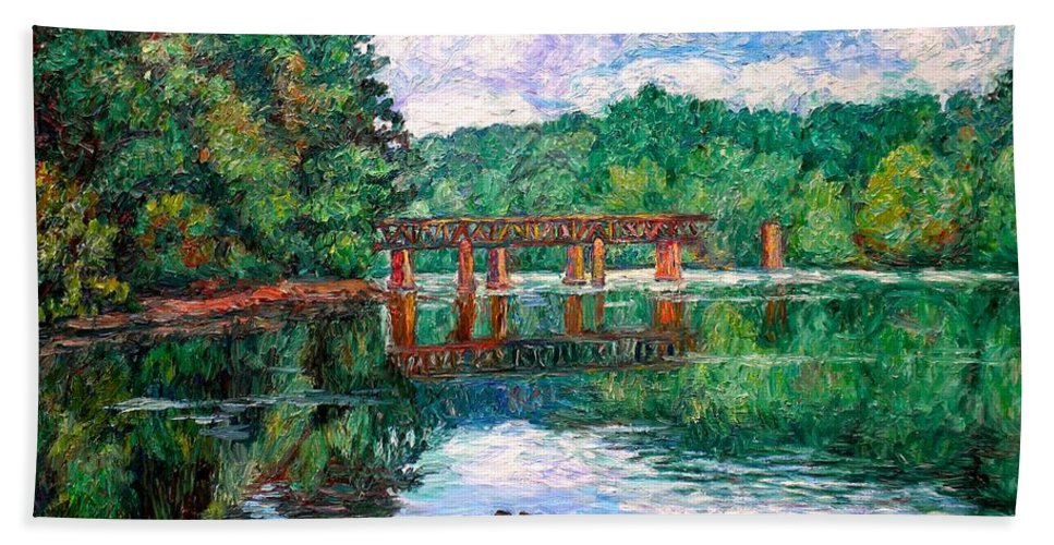 Landscape Beach Towel featuring the painting New River Trestle by Kendall Kessler
