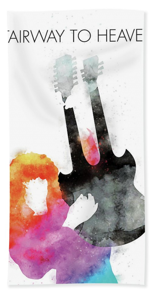 Led Beach Towel featuring the digital art No011 MY Led zeppelin Watercolor Music poster by Chungkong Art