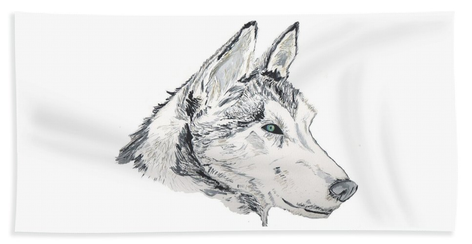 Wolf Beach Towel featuring the painting Noble Soul by Crystal Hubbard