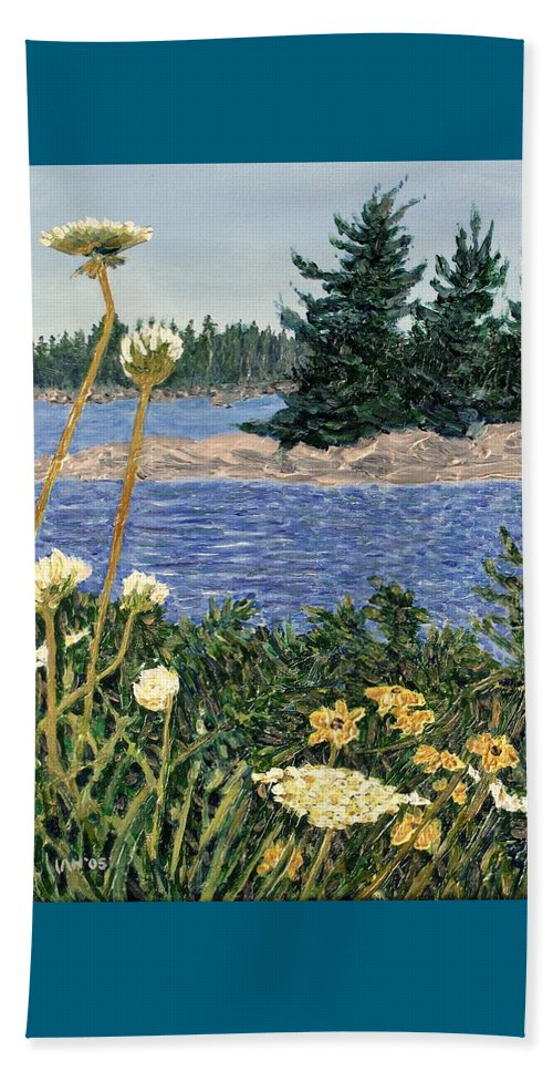 Northern Ontario Beach Towel featuring the painting North Channel Lake Huron by Ian MacDonald