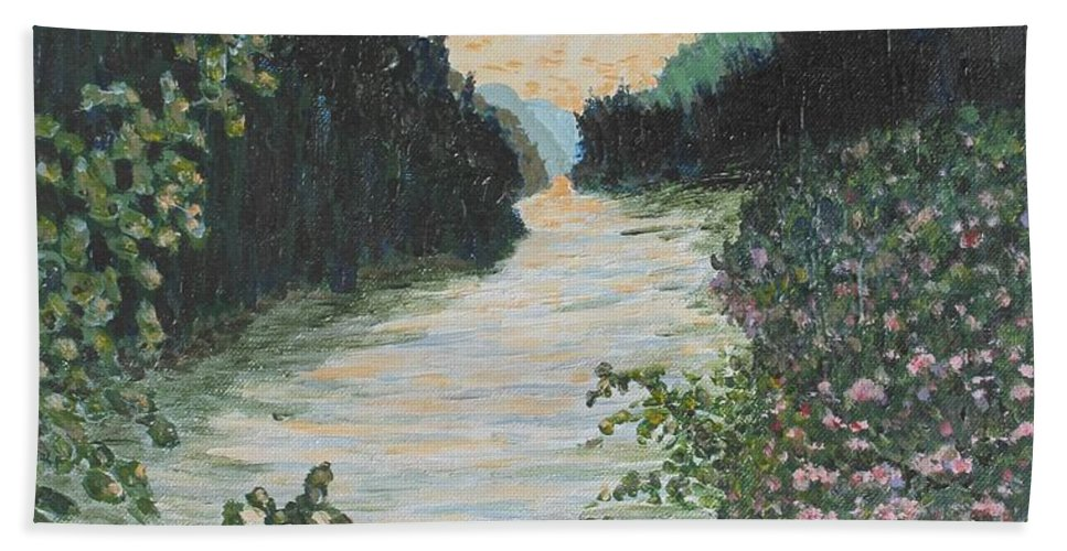 Agawa Canyon Beach Towel featuring the painting North of Sault Ste. Marie by Ian MacDonald