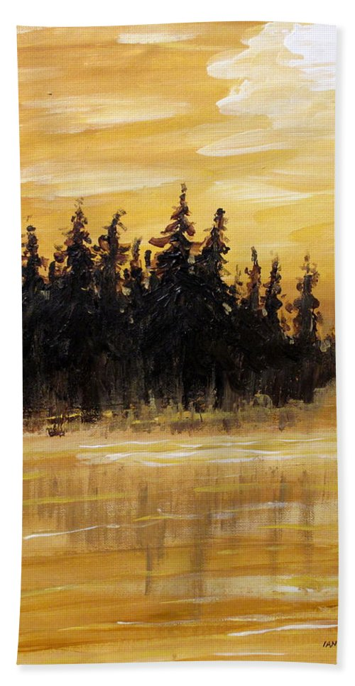 Northern Ontario Beach Towel featuring the painting Northern Ontario One by Ian MacDonald