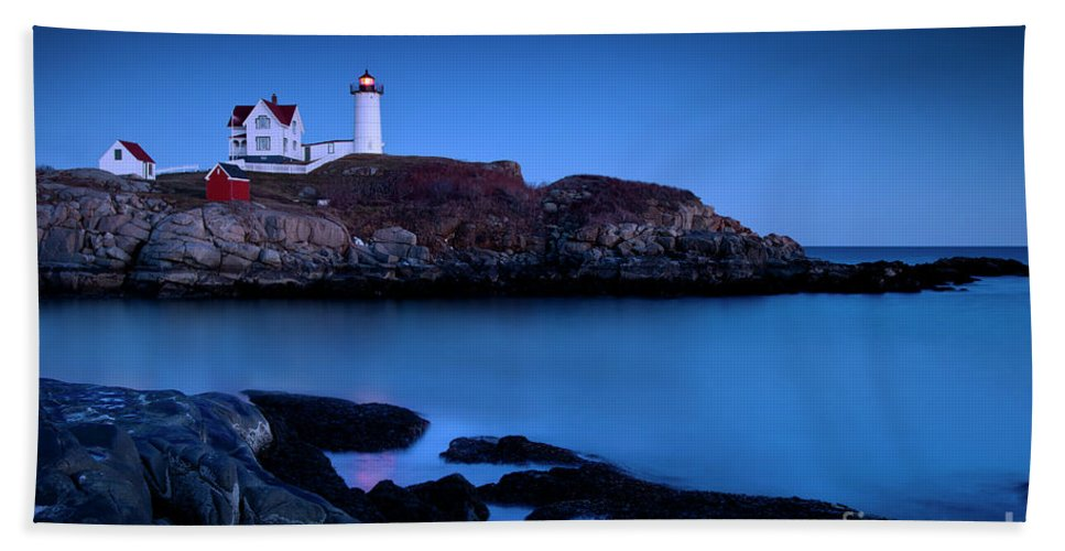 Nubble Beach Towel featuring the photograph Nubble Lighthouse Maine by Brian Jannsen