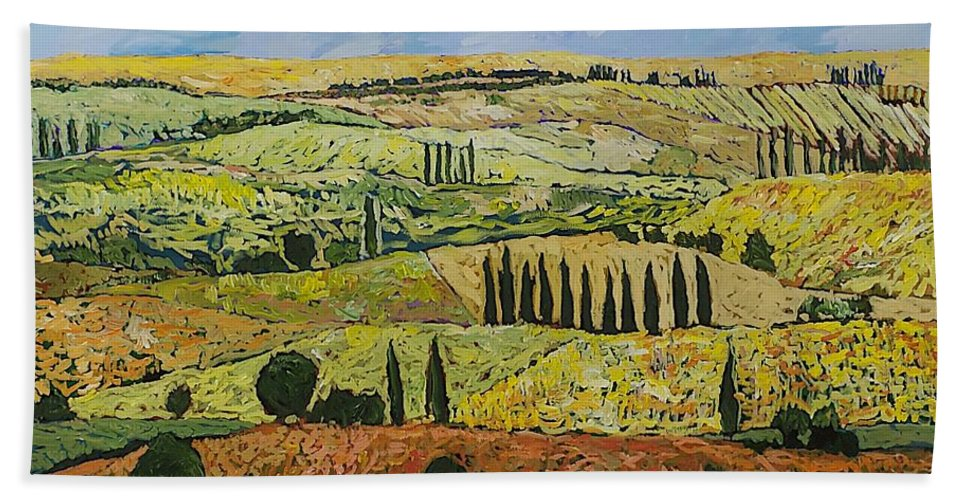 Landscape Beach Towel featuring the painting October Liberation by Allan P Friedlander
