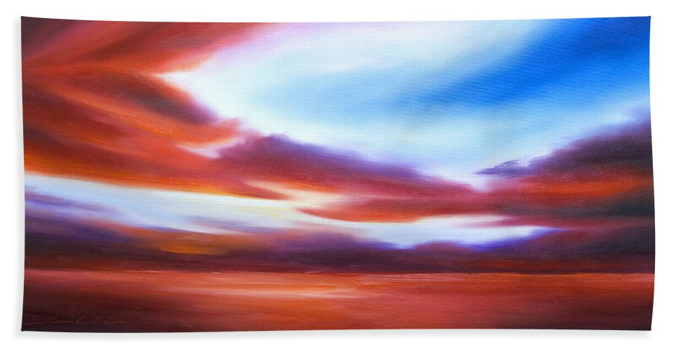 Skyscape Beach Towel featuring the painting October Sky IV by James Christopher Hill