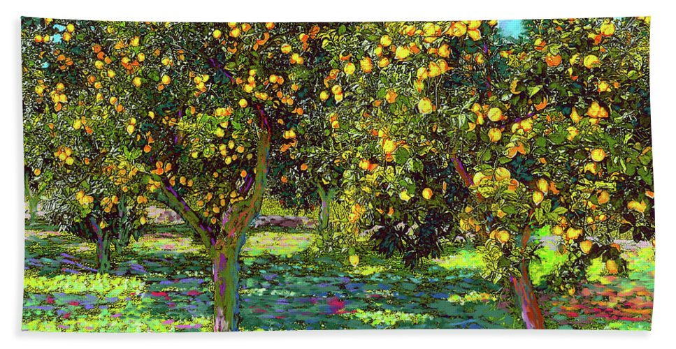 Landscape Beach Towel featuring the painting Orchard of Lemon Trees by Jane Small