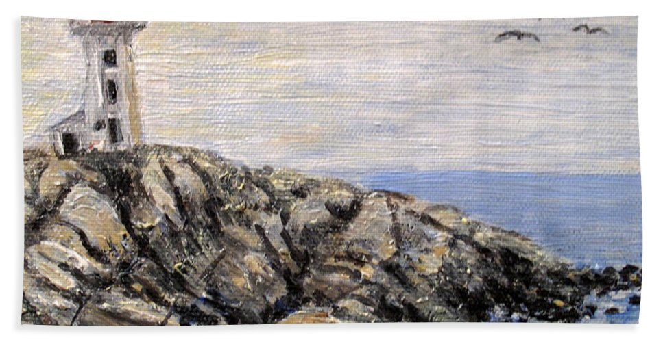 Lighthouse Beach Towel featuring the painting Peggys Cove Nova Scotia Lighthouse by Ian MacDonald
