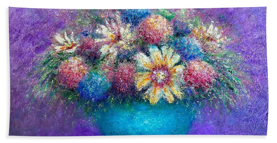 Floral. Still-life Beach Towel featuring the painting Pentimento Too by Shannon Grissom