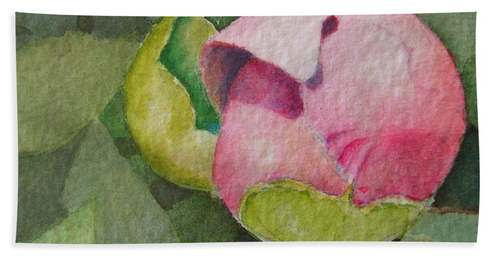 Watercolor Beach Towel featuring the painting Peony Bud by Mary Ellen Mueller Legault