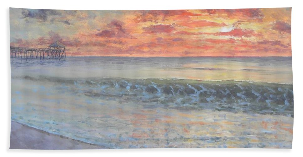 Pier Beach Towel featuring the painting Pier Sunrise by Paul Emig