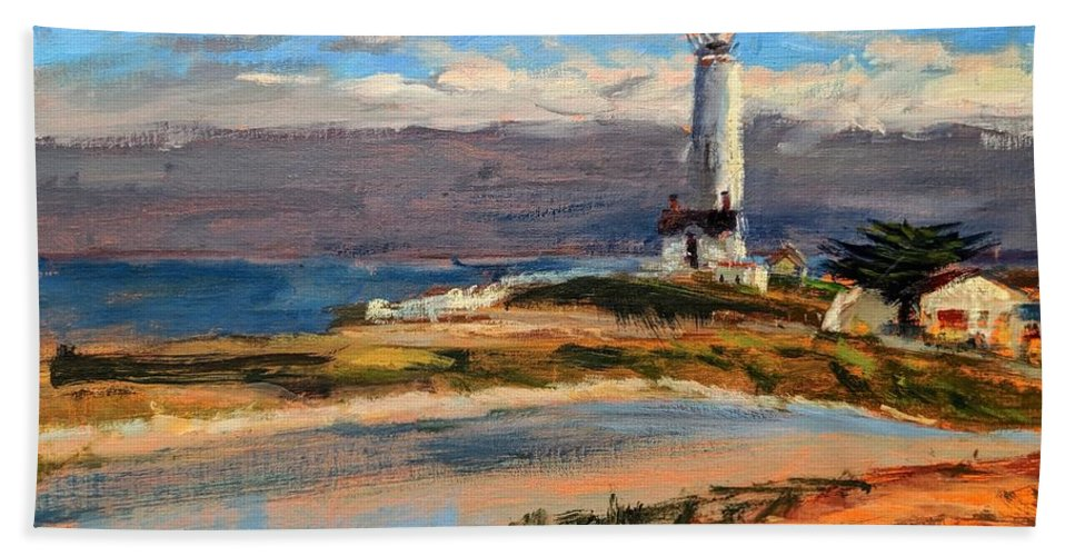 California Beach Towel featuring the painting Pigeon Point Lighthouse by Peter Salwen
