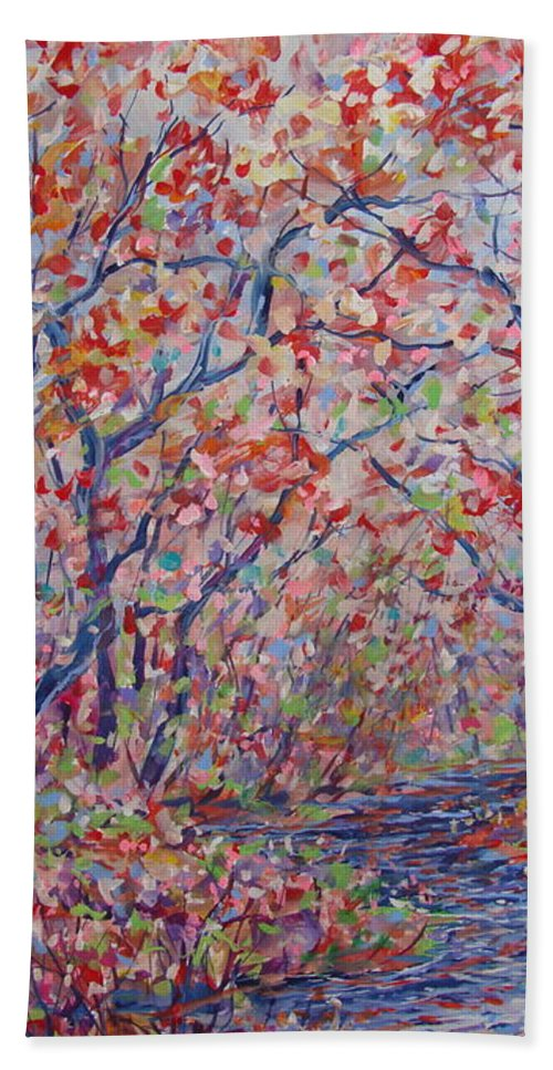 Landscape Beach Towel featuring the painting Poetic Forest. by Leonard Holland