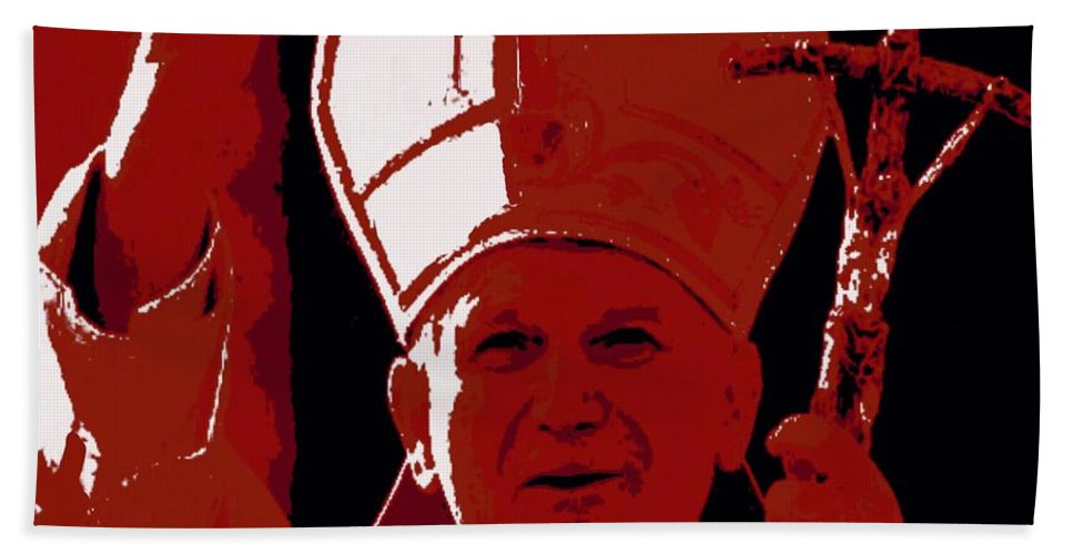 Pope Beach Sheet featuring the painting Pope John Paul II Blessing by Jack Bunds