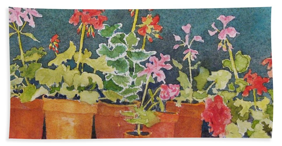 Florals Beach Towel featuring the painting Potting Shed by Mary Ellen Mueller Legault