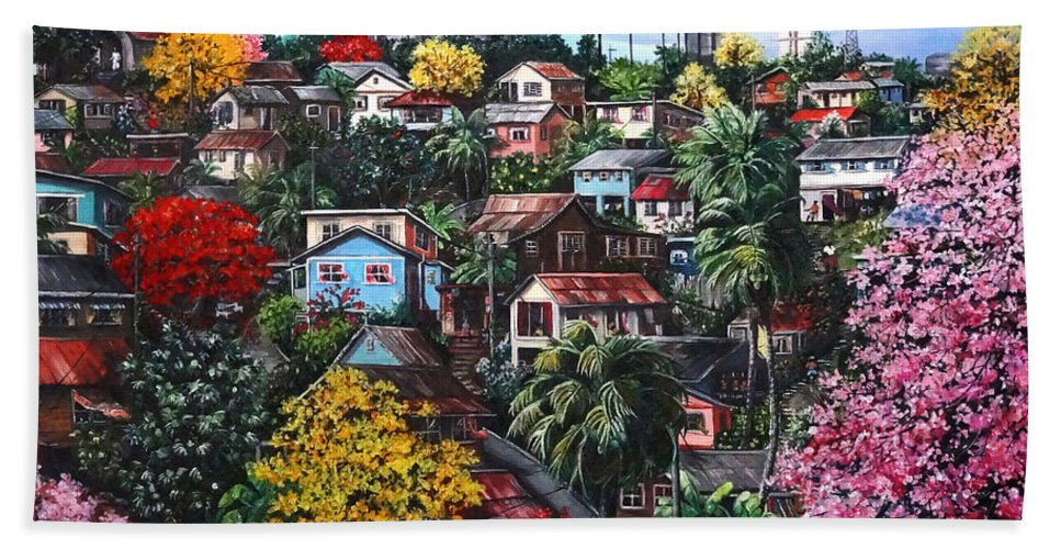 Landscape Painting Cityscape Painting Caribbean Painting Houses Hill Life Color Trees Poui Blossoms Trinidad And Tobago Floral Tropical Caribbean Beach Towel featuring the painting Poui Calling For The Rains by Karin Dawn Kelshall- Best