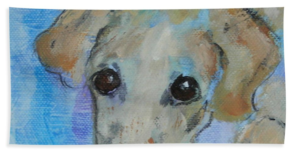 Acrylic Beach Towel featuring the drawing Pupster by Cori Solomon