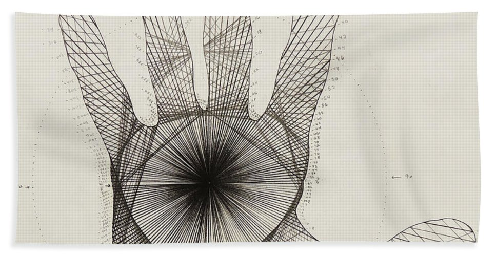 Quantum Beach Towel featuring the drawing Quantum Hand by Jason Padgett
