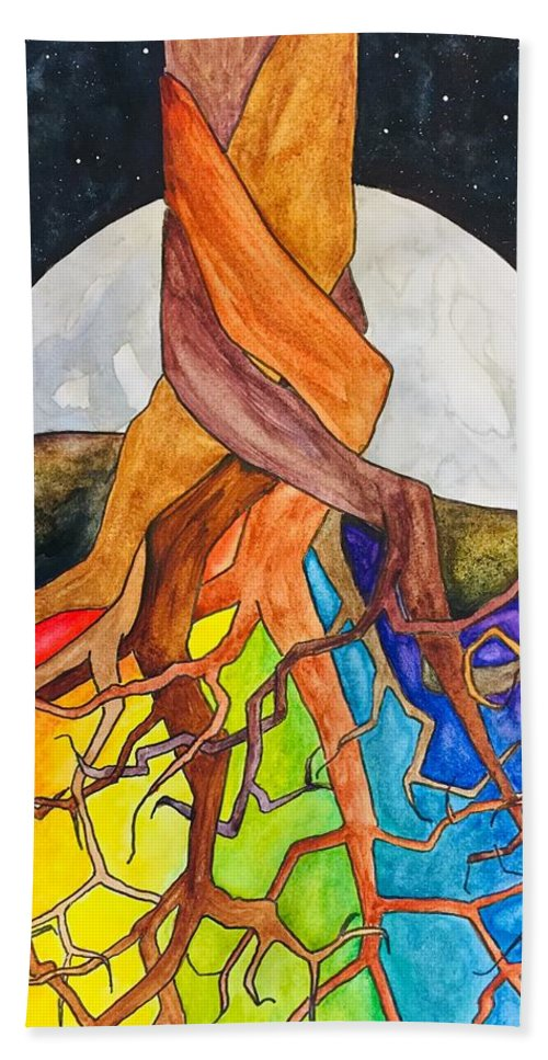 Rainbow Beach Towel featuring the painting Rainbow Soil with Moon by Vonda Drees