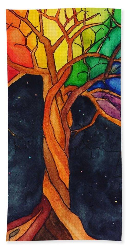 Rainbow Beach Towel featuring the painting Rainbow Tree with Night Sky by Vonda Drees