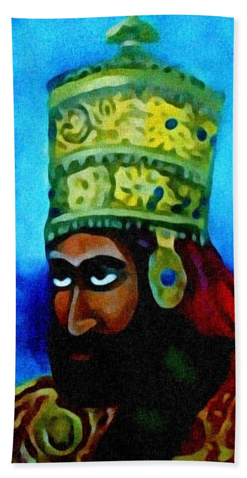 Painting Of Rastafari Beach Towel featuring the painting Rastafari by Andrew Johnson