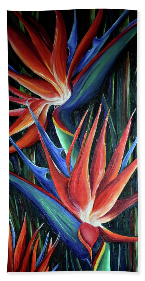 Strelitzia Reginae  Tropical Lily Beach Towel featuring the painting Red Birds Of Paradise by Karin Dawn Kelshall- Best