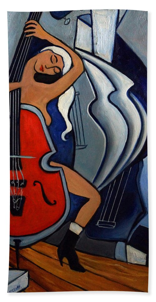 Cubic Abstract Beach Towel featuring the painting Red Cello by Valerie Vescovi