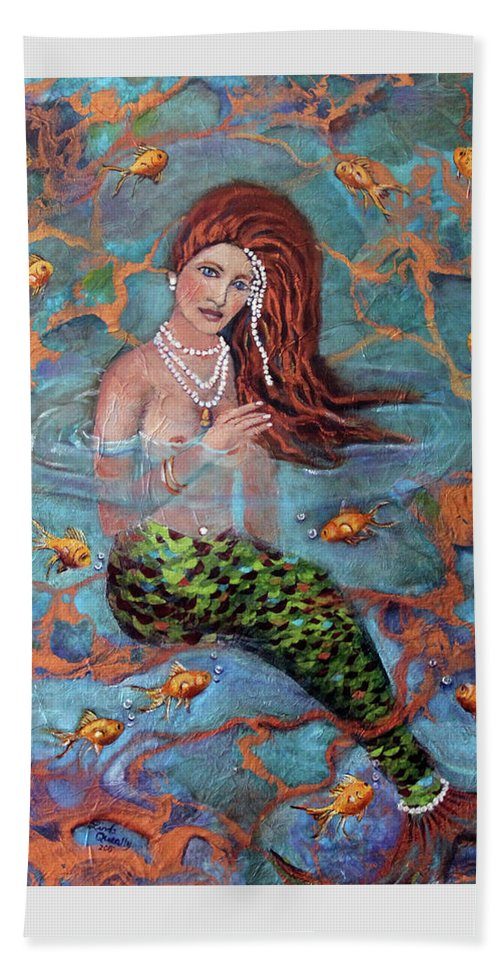 Blue Beach Towel featuring the painting Red Headed Mermaid Ophelia Painting by Linda Queally by Linda Queally