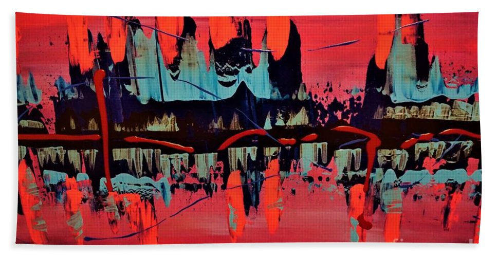 Red Beach Towel featuring the painting RED by Jimmy Clark