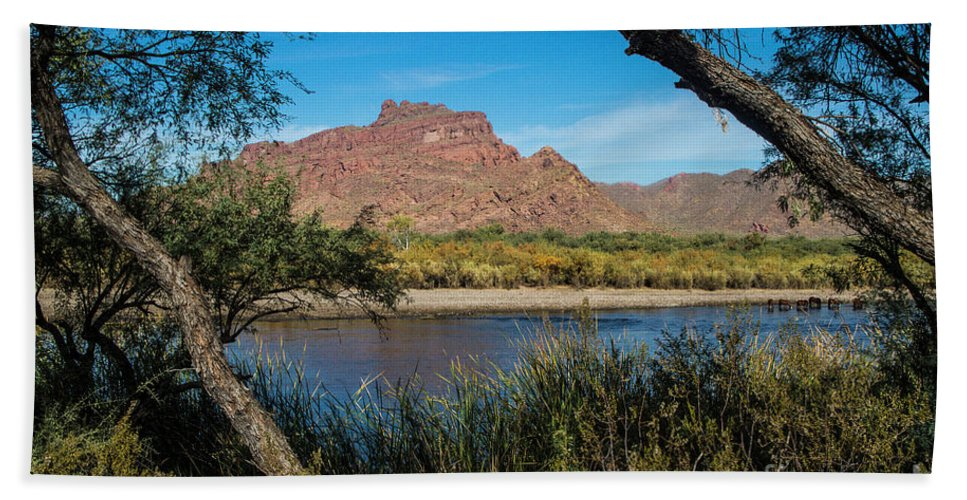 Arizona Beach Towel featuring the photograph Red Mountain Through the Trees by Kathy McClure