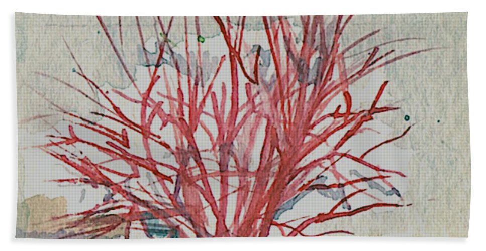 Art Beach Towel featuring the painting Red Osier Dogwood by Elle Smith Fagan