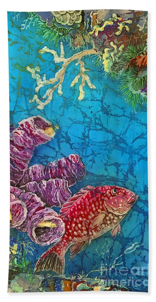 Ocean Beach Towel featuring the painting Red Snapper by Sue Duda