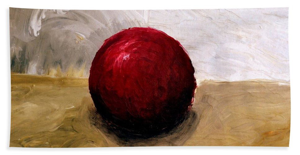 Red Beach Towel featuring the painting Red Sphere by Michelle Calkins