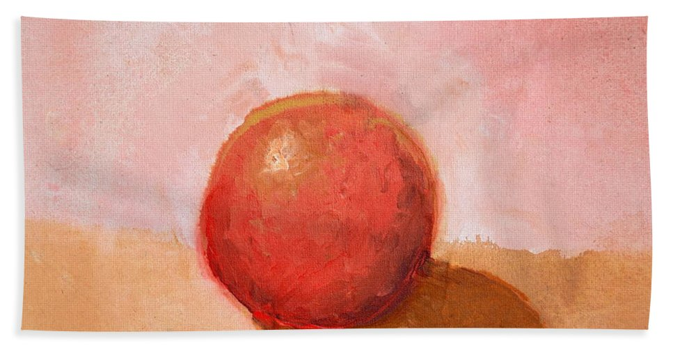 Spheres Beach Towel featuring the painting Red Sphere Still Life by Michelle Calkins