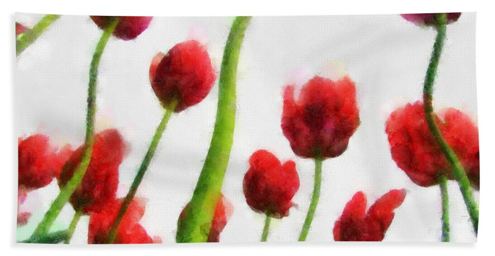 Hollander Beach Towel featuring the photograph Red Tulips from the Bottom Up I by Michelle Calkins