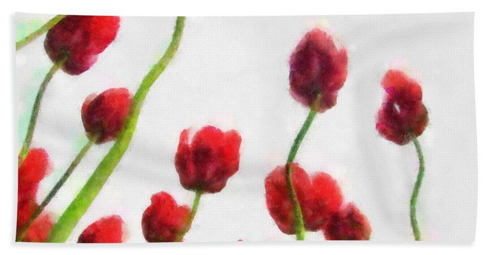 Hollander Beach Towel featuring the photograph Red Tulips from the Bottom Up ll by Michelle Calkins