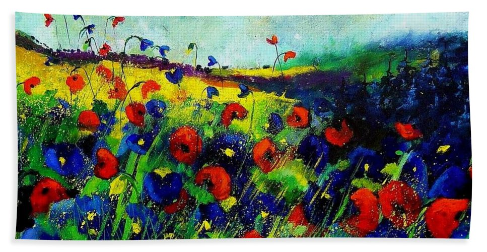 Flowers Beach Towel featuring the painting Reda nd blue poppies 68 by Pol Ledent
