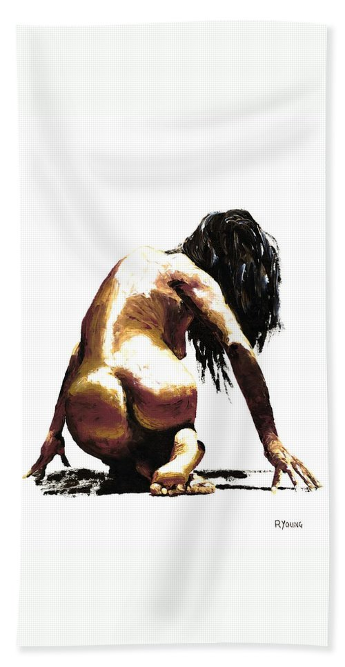 Nude Beach Towel featuring the painting Remorse by Richard Young