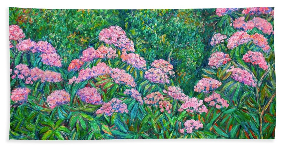 Floral Beach Towel featuring the painting Rhododendron Near Black Rock Hill by Kendall Kessler