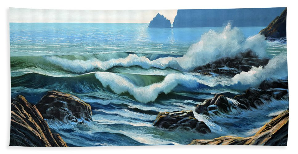 Rolling Breakers Beach Towel featuring the painting Rolling Breakers by Frank Wilson