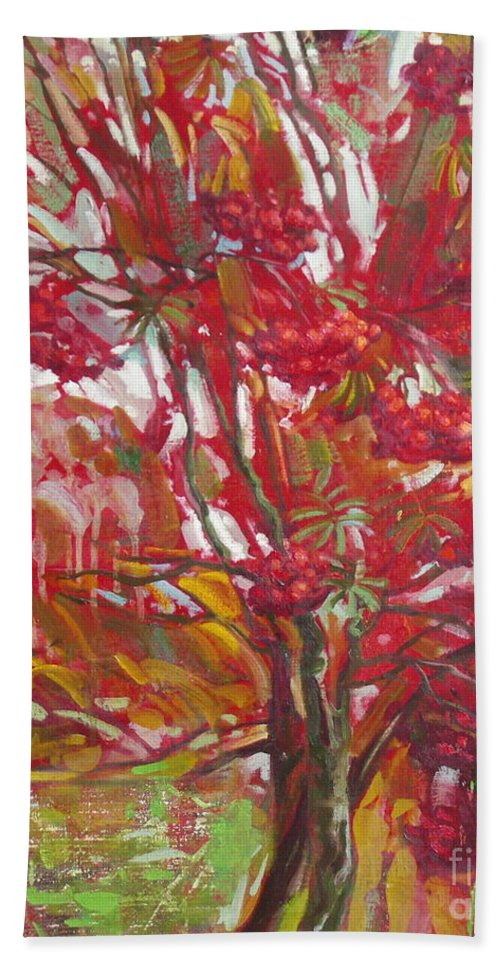 Oil Beach Towel featuring the painting Rowan tree by Sergey Ignatenko
