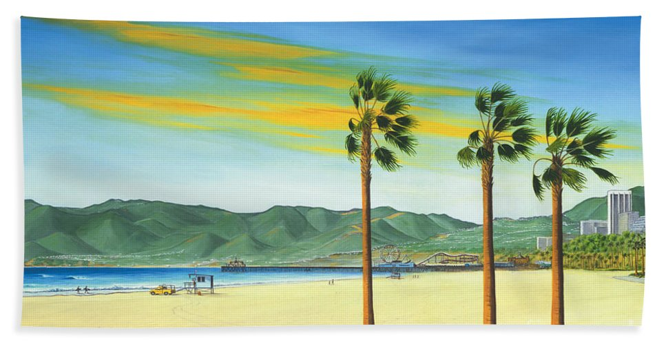 Santa Monica Beach Towel featuring the painting Santa Monica by Jerome Stumphauzer