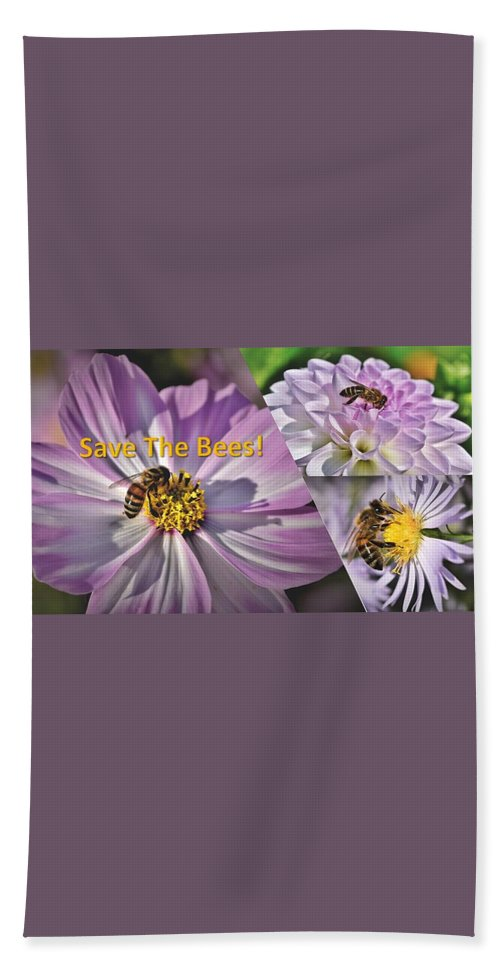 Bees Beach Sheet featuring the photograph Save the Bees Lavender by Nancy Ayanna Wyatt