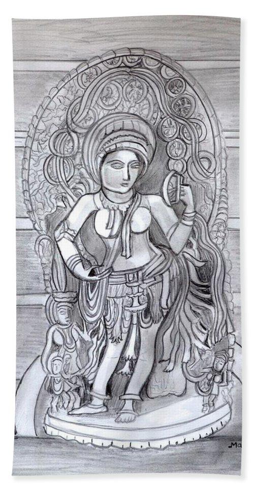 Sculpture Beach Towel featuring the drawing Sculpture pencil drawing of Madanika Chennakesava temple Karnataka by Manjiri Kanvinde